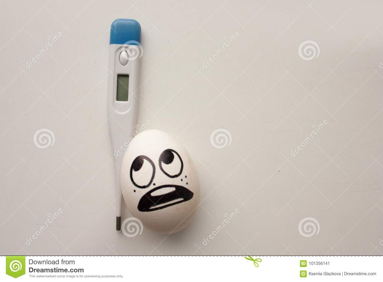 Flu Concept A Funny Egg With A Face Holds Stock Image Image Of Cooking Meal 101356141