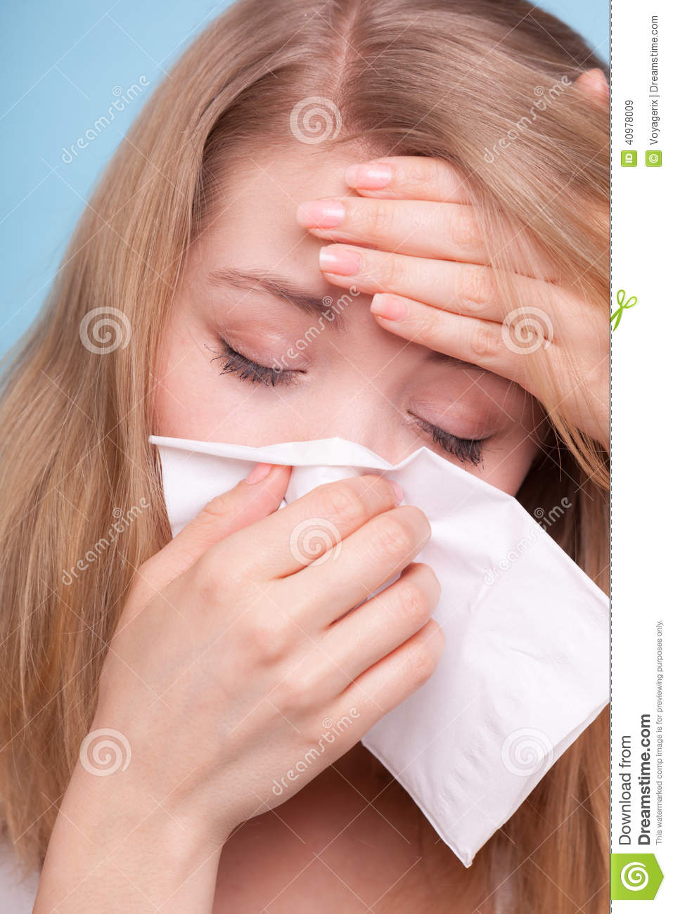 Flu Fever Sick Girl Sneezing In Tissue Health