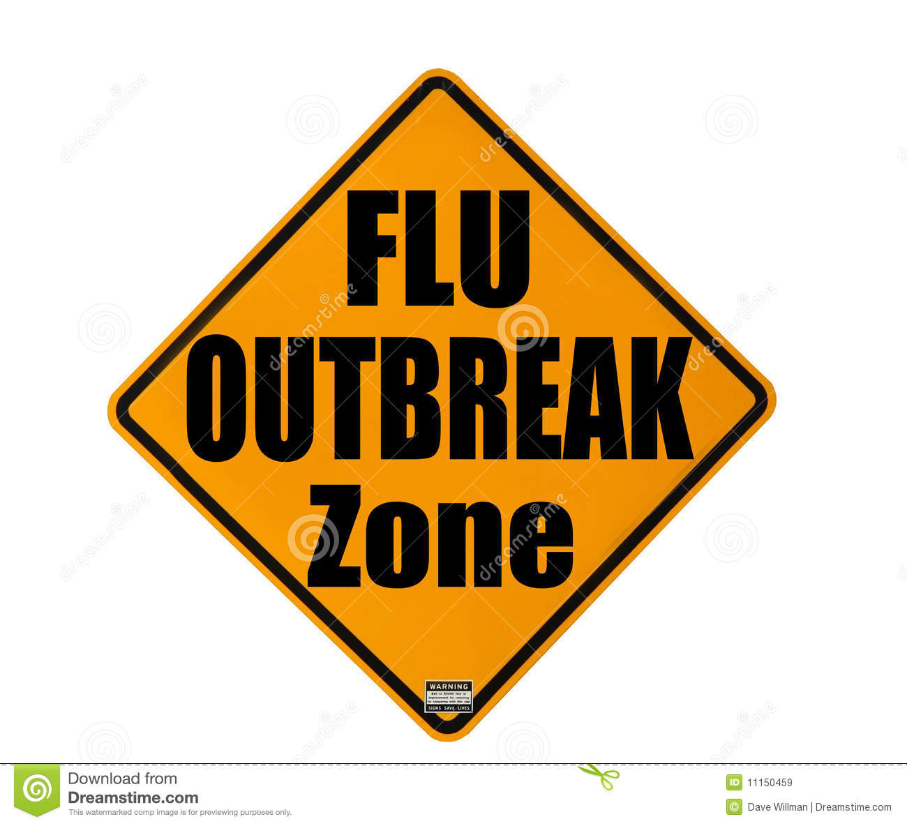 Yellow warning sign of a flu outbreak isolated over white background.