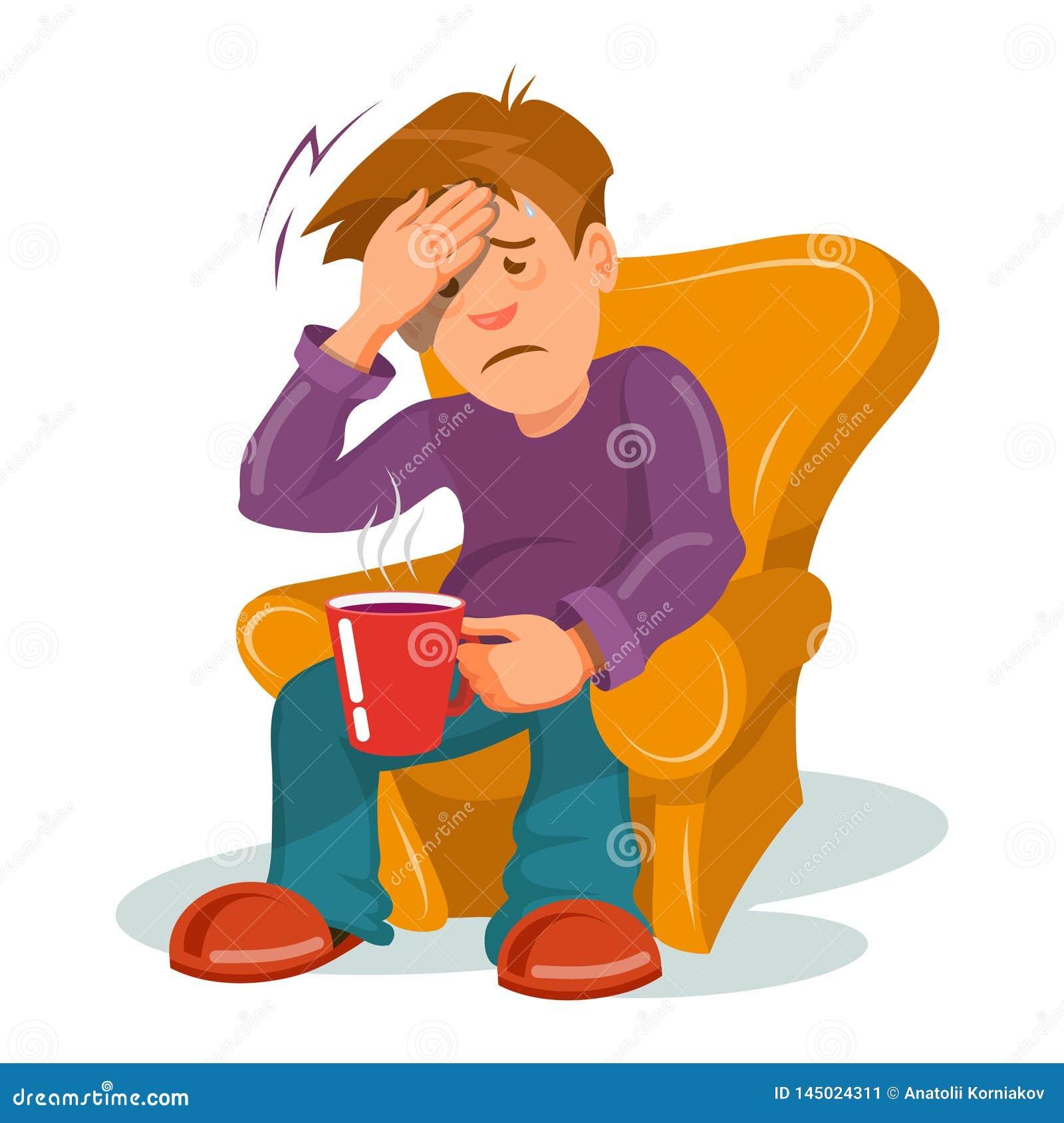 Flu Sickness. Sick Person Having Cold. Ill Man Headache. Medicine ...