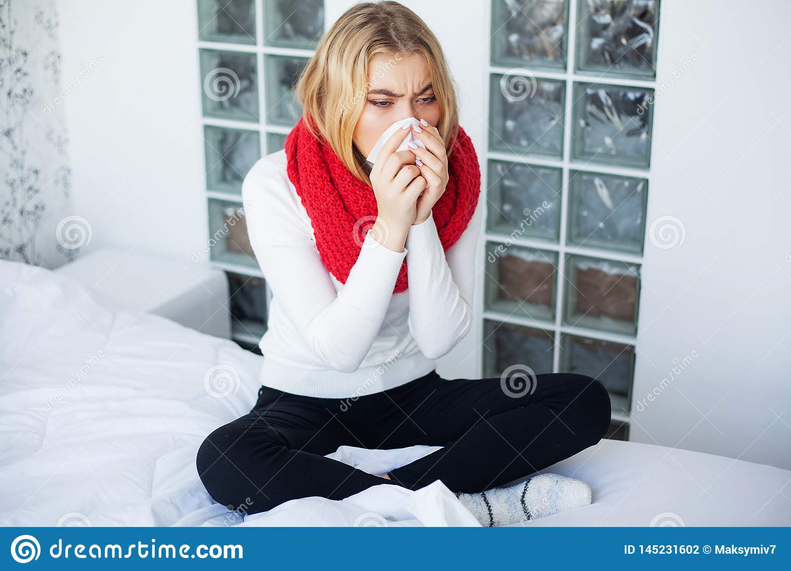 Flu. Woman Suffering From Cold Lying In Bed