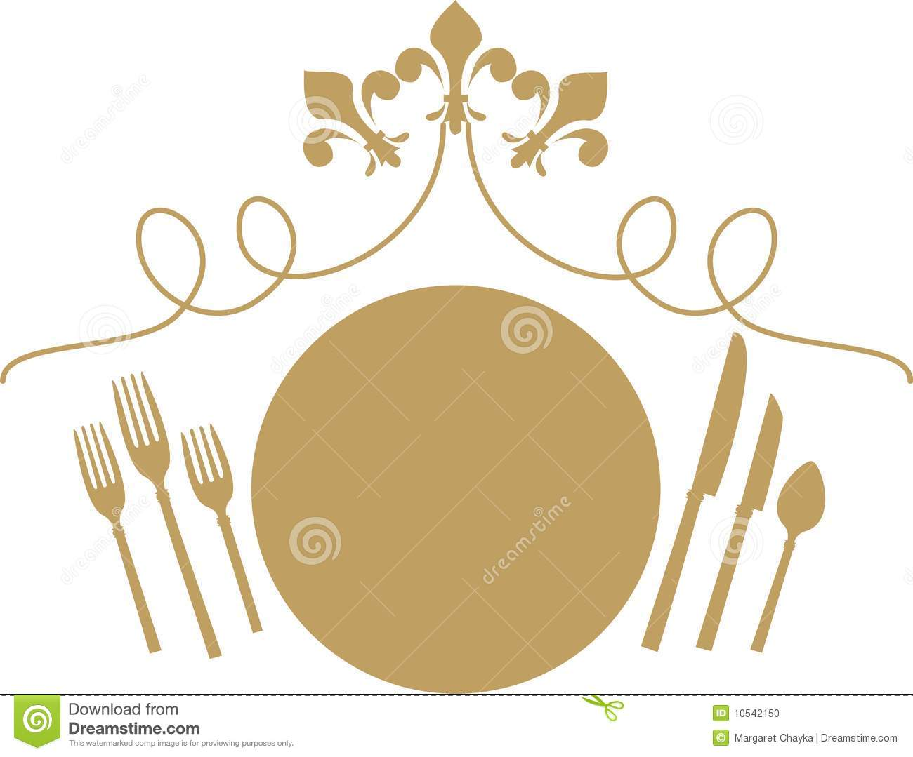 Fluer De Lys Table Dinner Setting Stock Vector Image