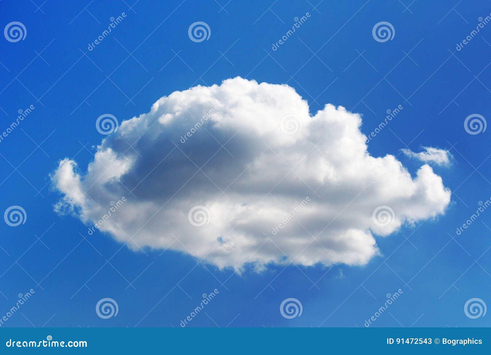 Fluffy chubby white cloud on blue sky