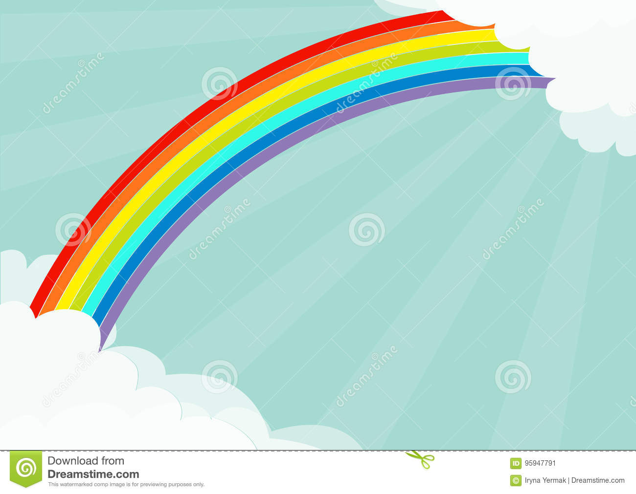 Fluffy cloud in corners frame template. Rainbow in the sky. Cloudshape. Sun light rays burst. Sunshine. Cloudy weather. LGBT sign