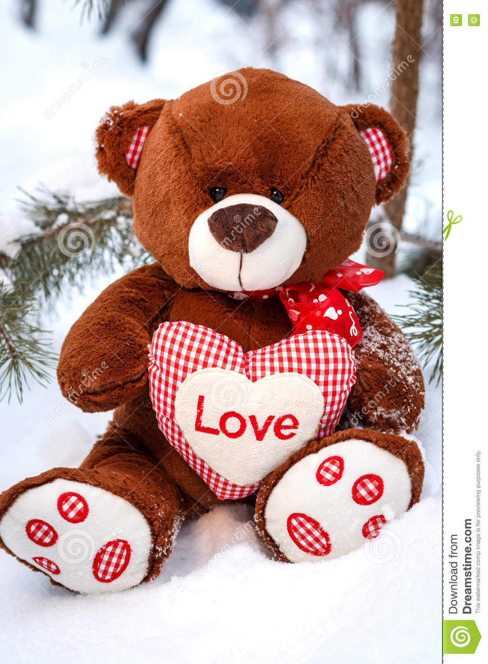 fluffy cute soft toy teddy bear with heart love in snow stock image image 72445099. Black Bedroom Furniture Sets. Home Design Ideas