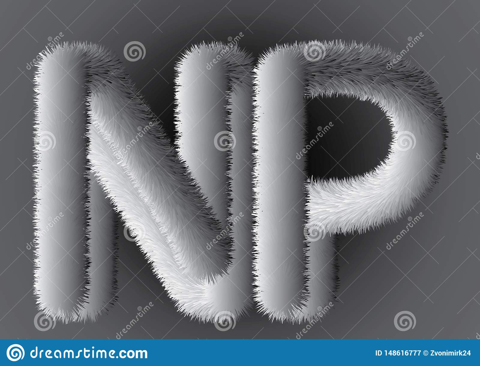 fluffy flur beutiful gray letters np on gray gradient background
