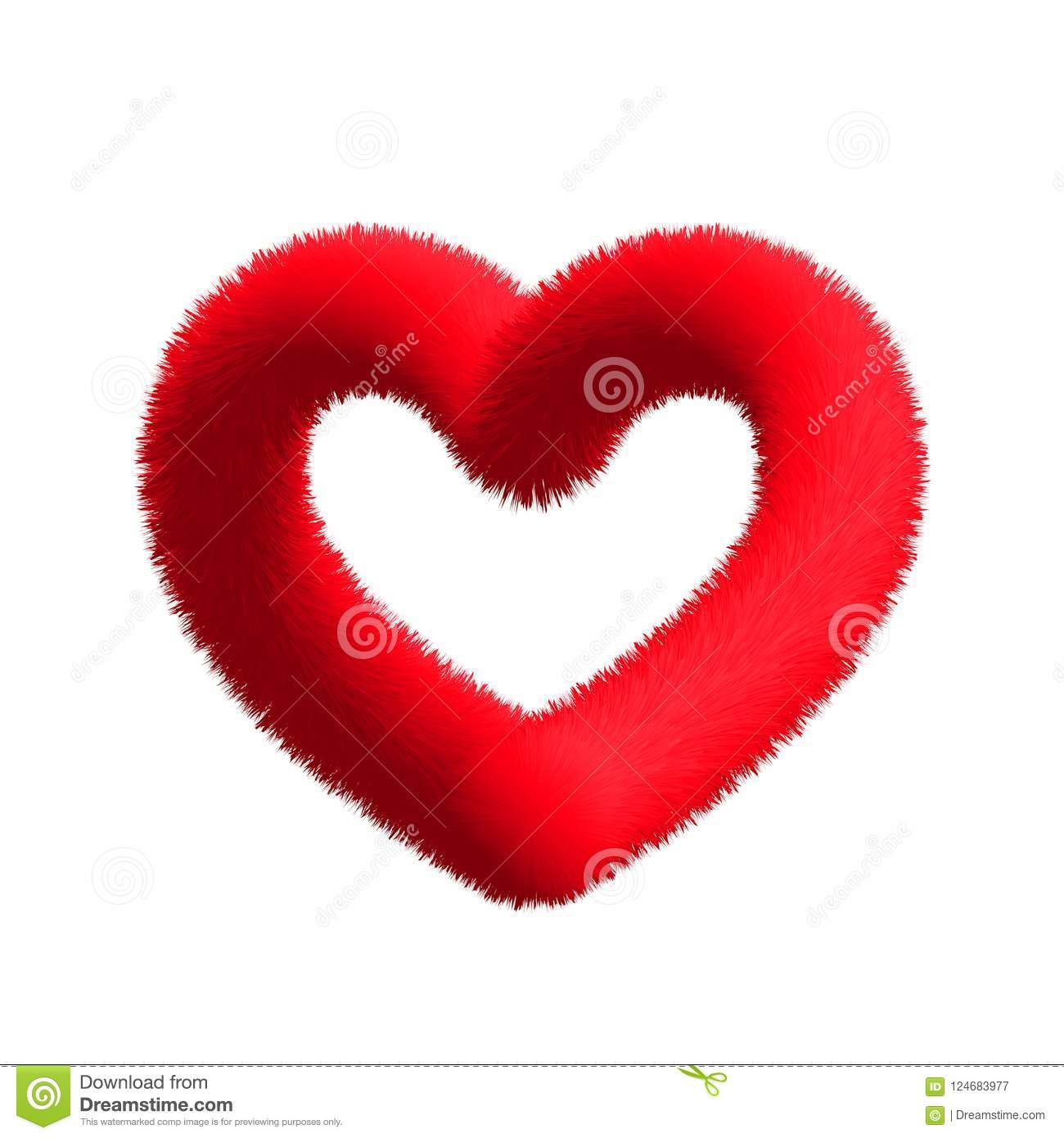 Christmas Tinsel Transparent.Fluffy Furry Red Heart On A Transparent Background Stock