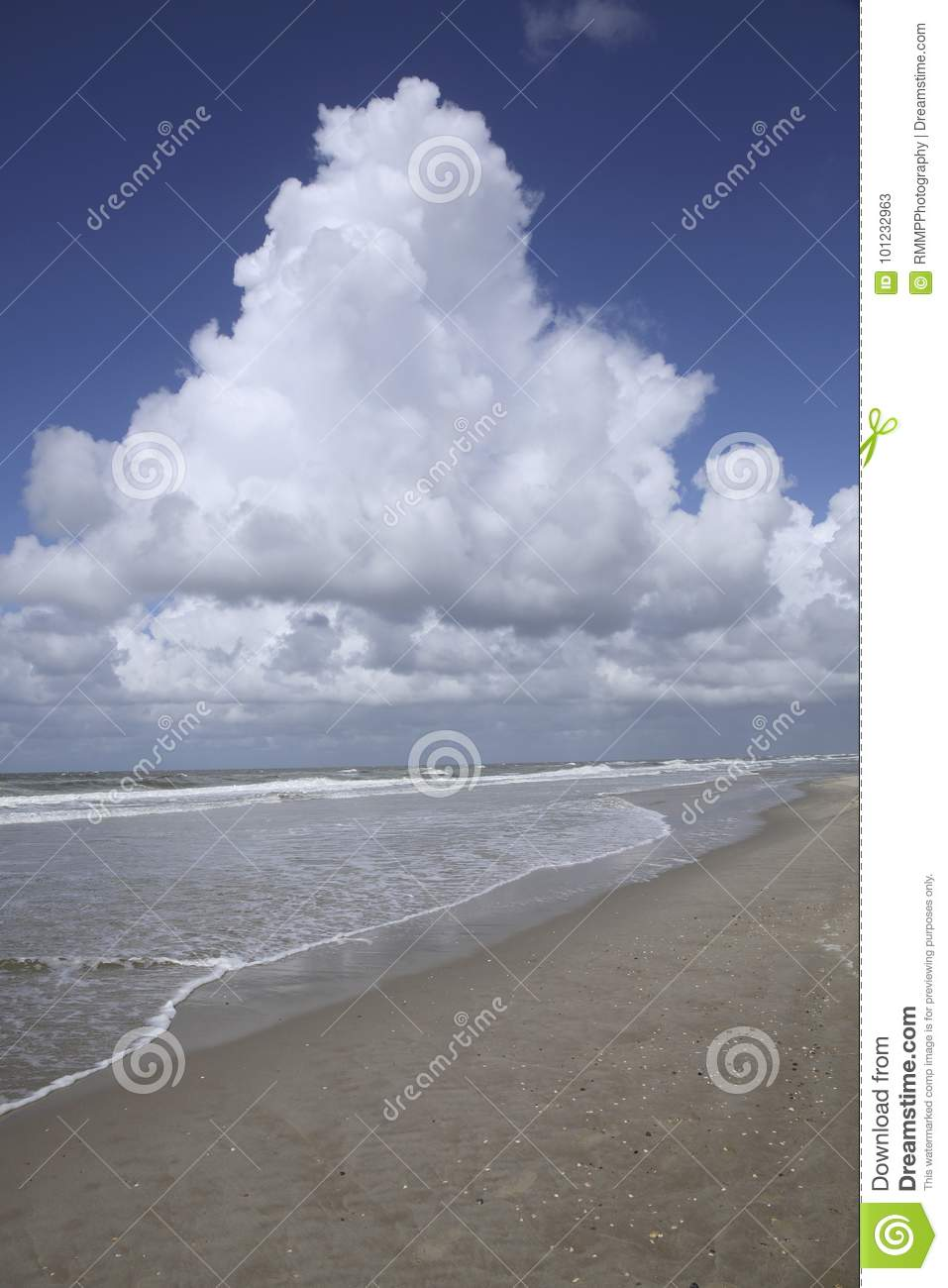 Beach, sea, clouds and a blue sky, The Netherlands