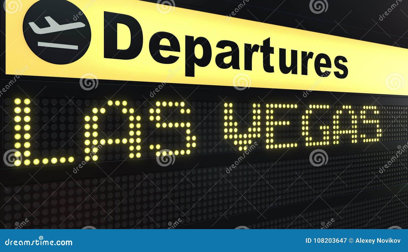 Flug Nach Las Vegas Auf Abfahrtstafel Des Internationalen Flughafens