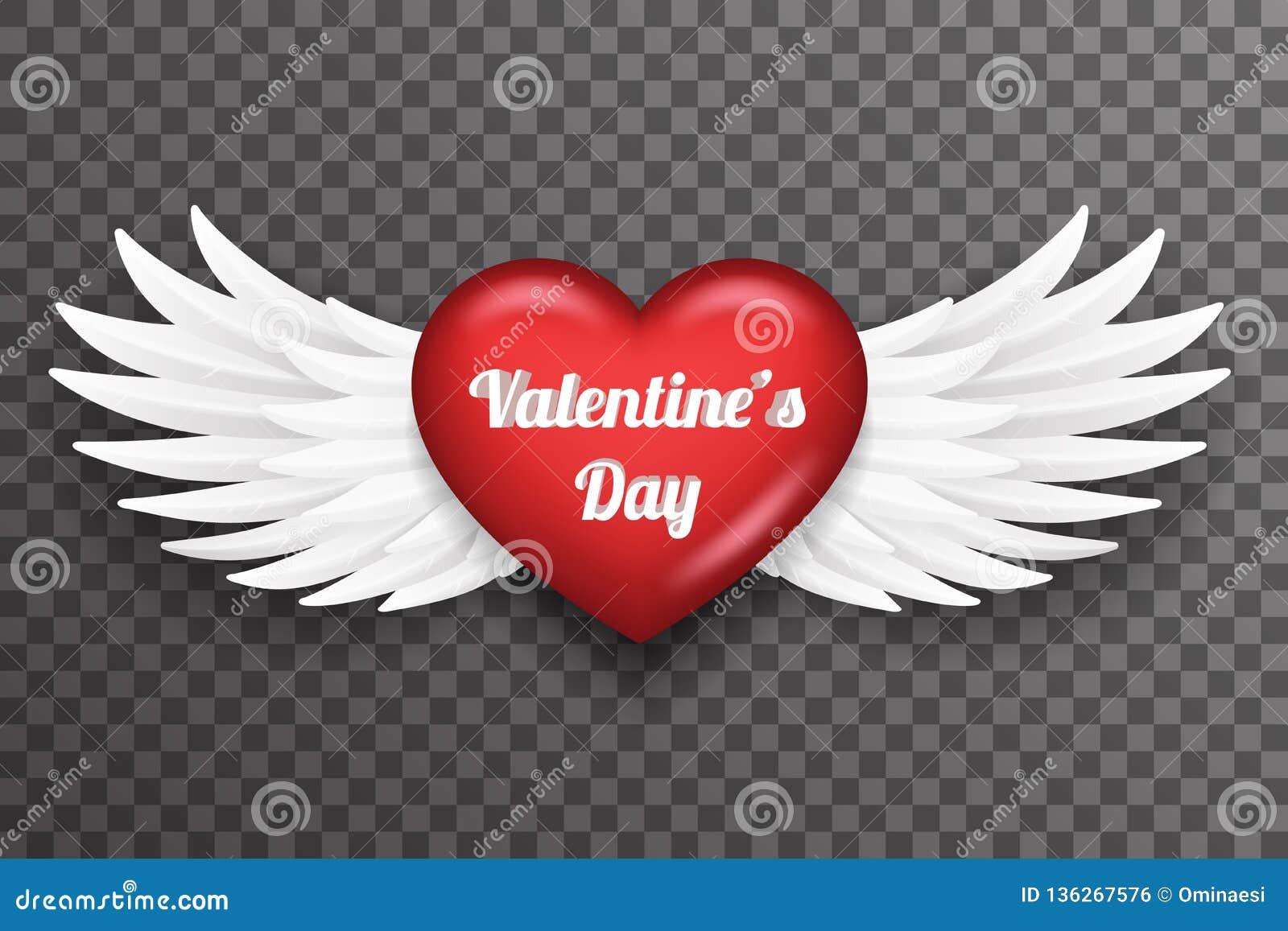 Flugan för ängeln för fågeln för valentindaghjärta påskyndar den vita för bakgrundsvektorn för den realistiska designen 3d den ge