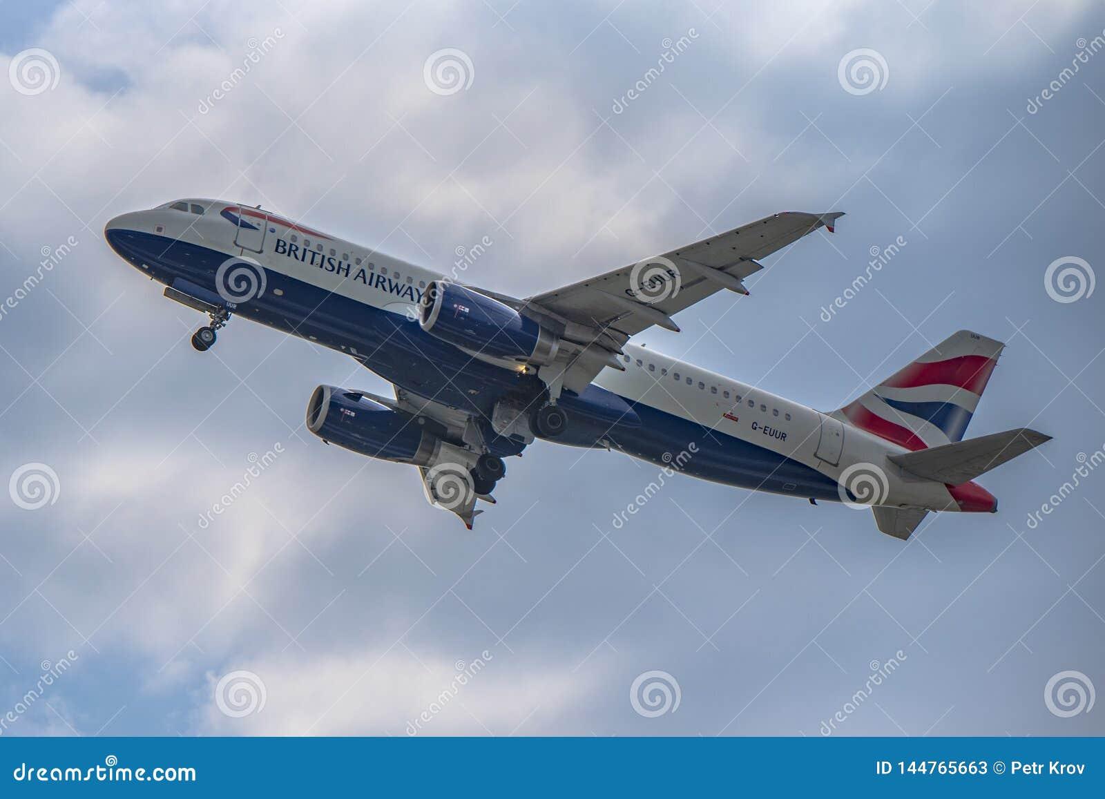 Flughafen Prag Ruzyne, entfernen britische arways Airbusses