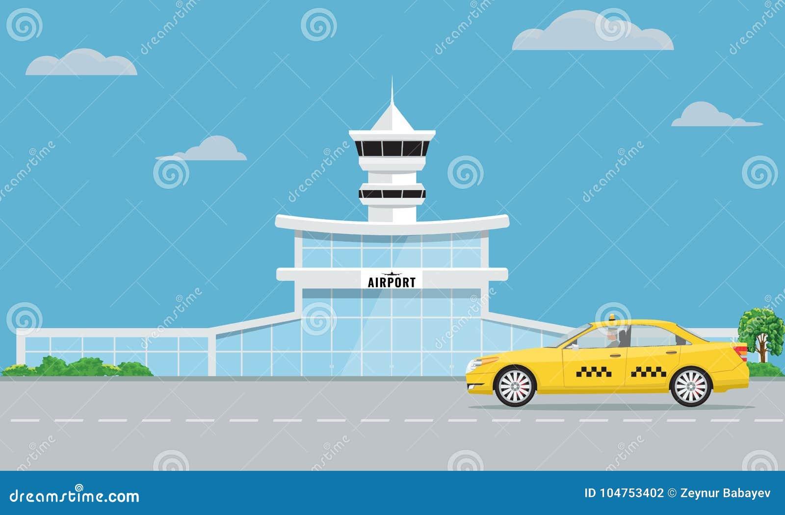 Flughafenabfertigungsgebäudegebäude und gelbes Taxi Design des flachen und Normallacks des städtischen Hintergrundes