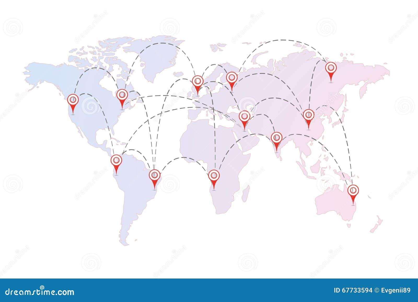 Bemerkenswert Weltkarte Mit Städten Sammlung Von Pattern Flugverbindungen Zwischen Städten Roten Stiften Von