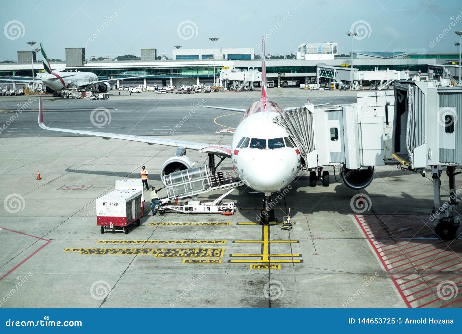 Flugzeug auf Flugvorbereitung