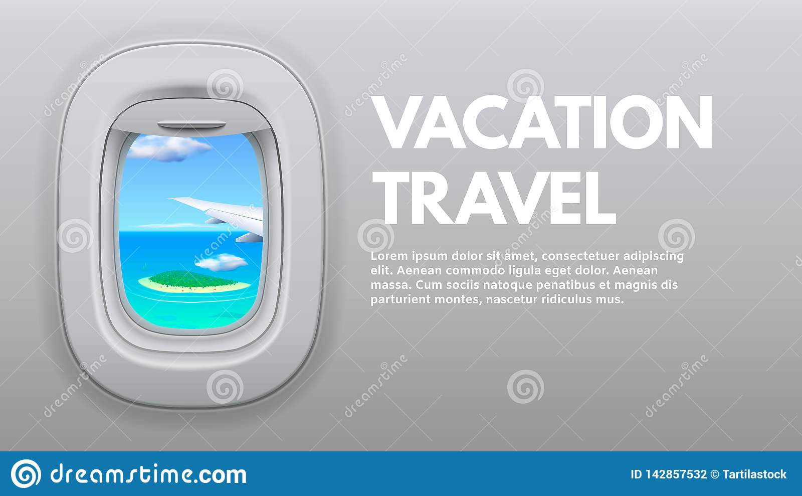Flugzeug-?ffnungs-Ansicht ReiseFlugzeugfl?gel im Fenster, im Reisendflugzeug und in reisendem Konzeptvektor der Ferien