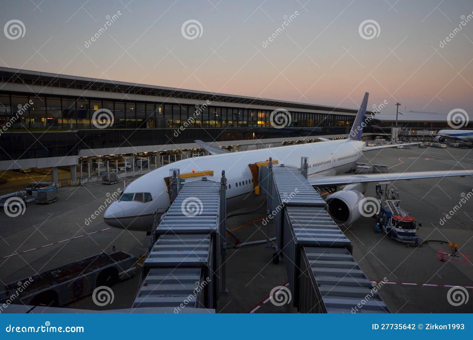 Flugzeug am Gatter