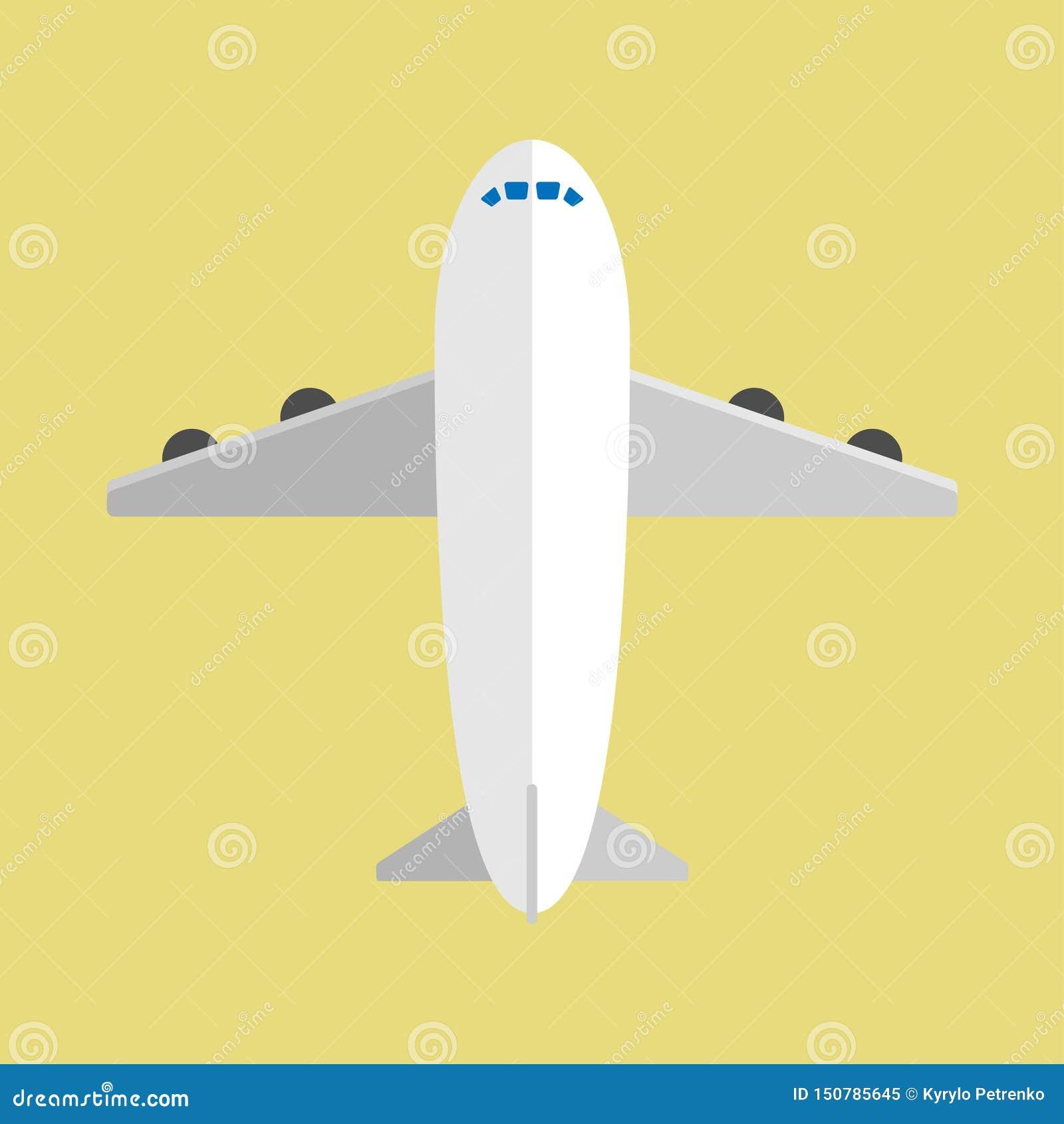 Flugzeug im flachen Entwurf mit Hintergrund