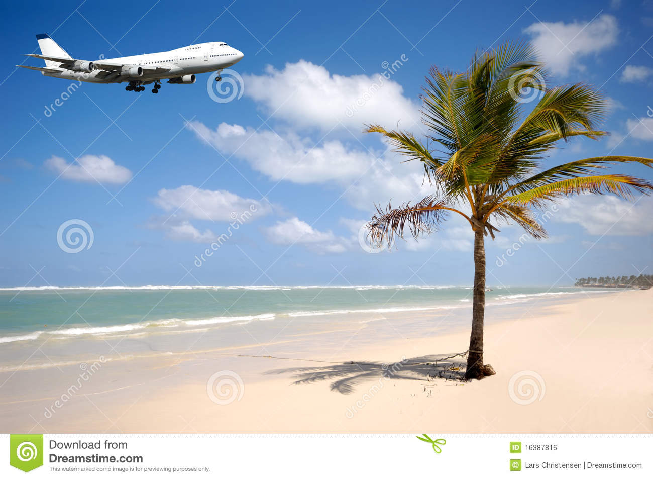 Island With Airplane Flying Over Beach