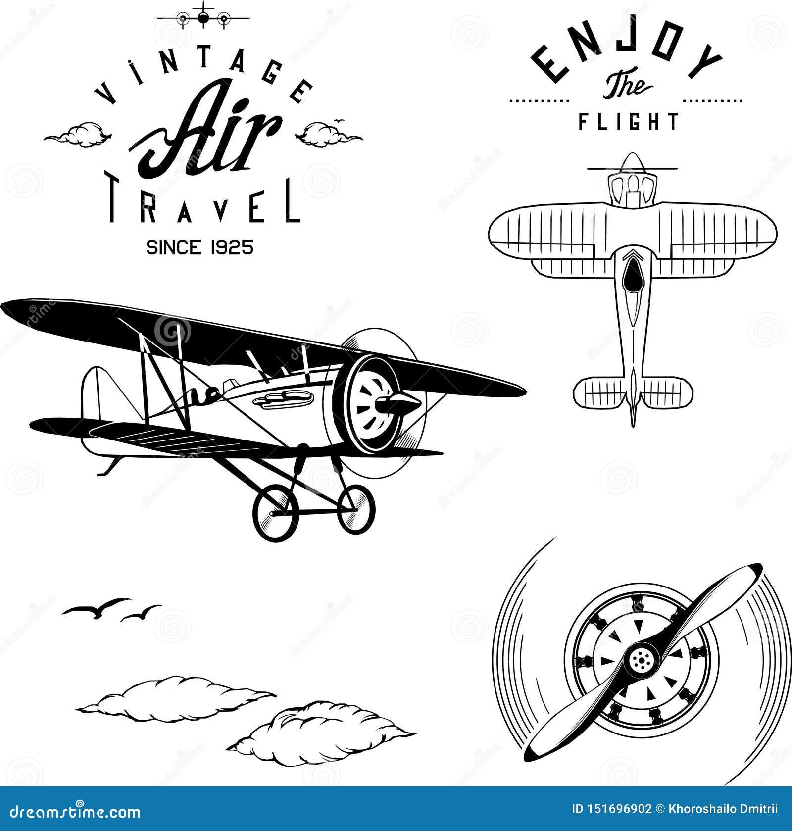 Flugzeuglogosatzschwarzflugzeug-Doppeldeckerweinlese