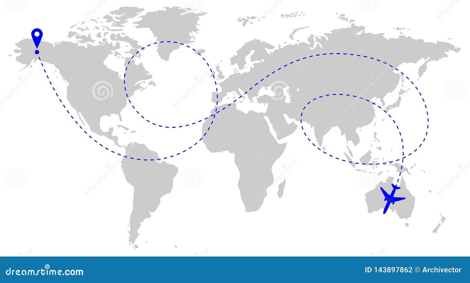 Flugzeugweg über Welt
