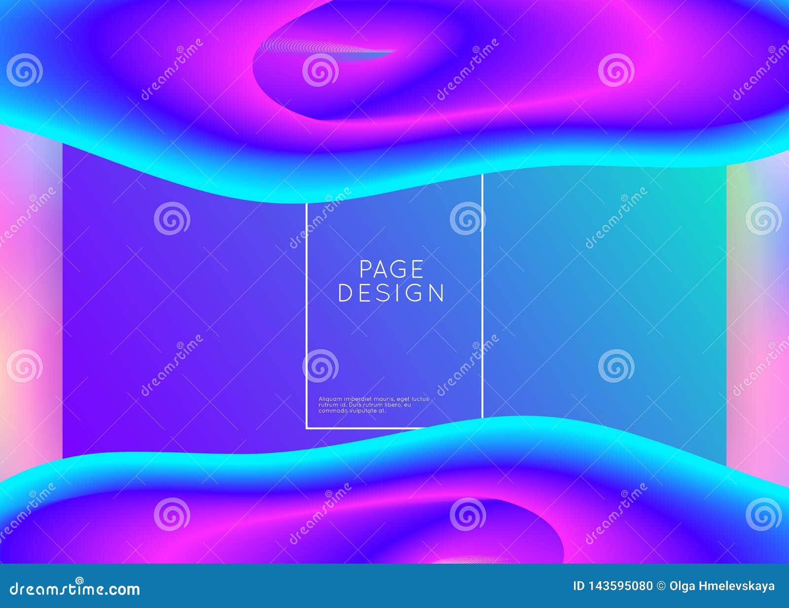 Fluide liquide avec les éléments et les formes dynamiques Page d atterrissage