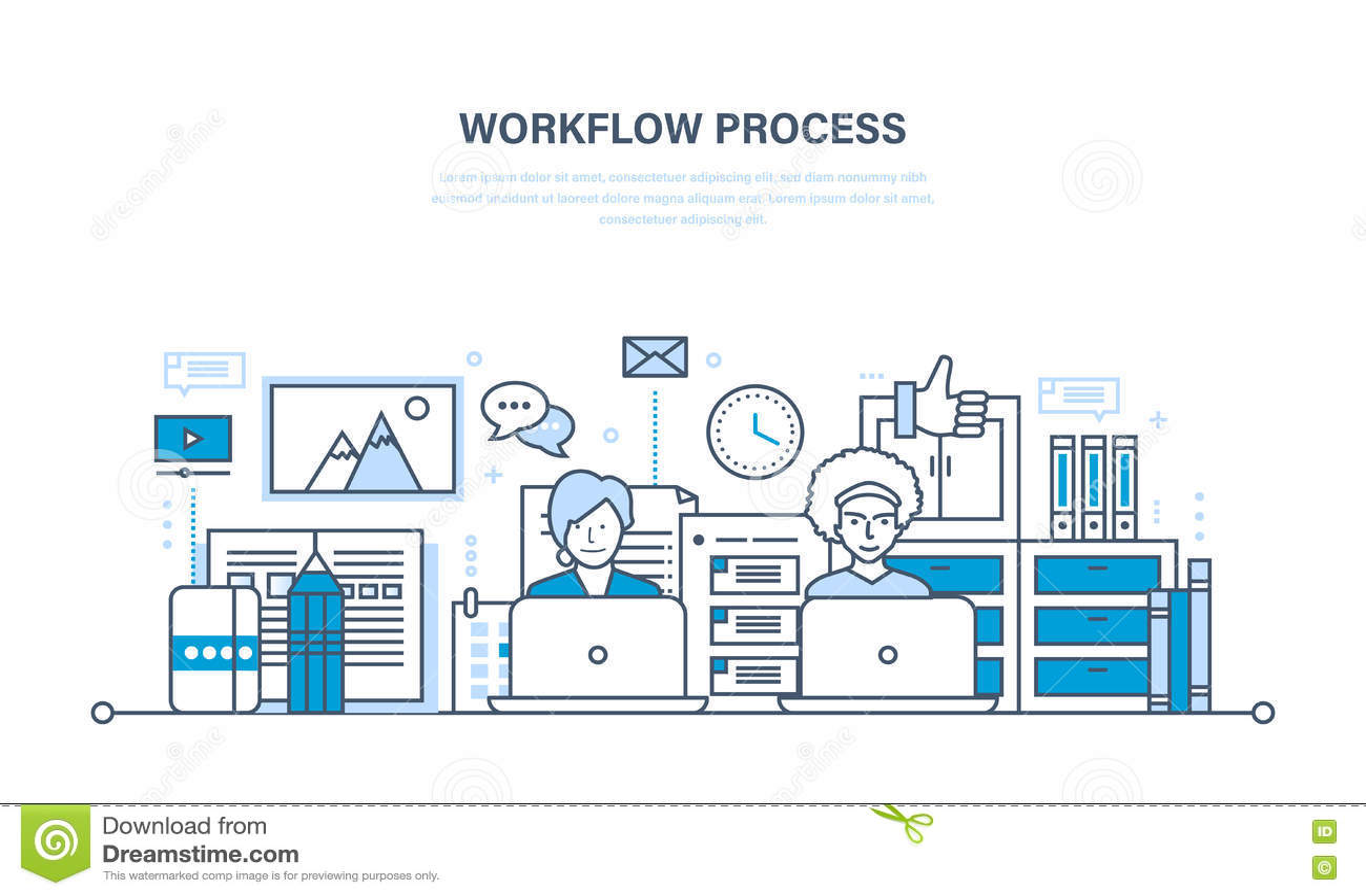 Flujo de trabajo, lugar de trabajo, ambiente, software y soporte físico, comunicación de proceso del pensamiento