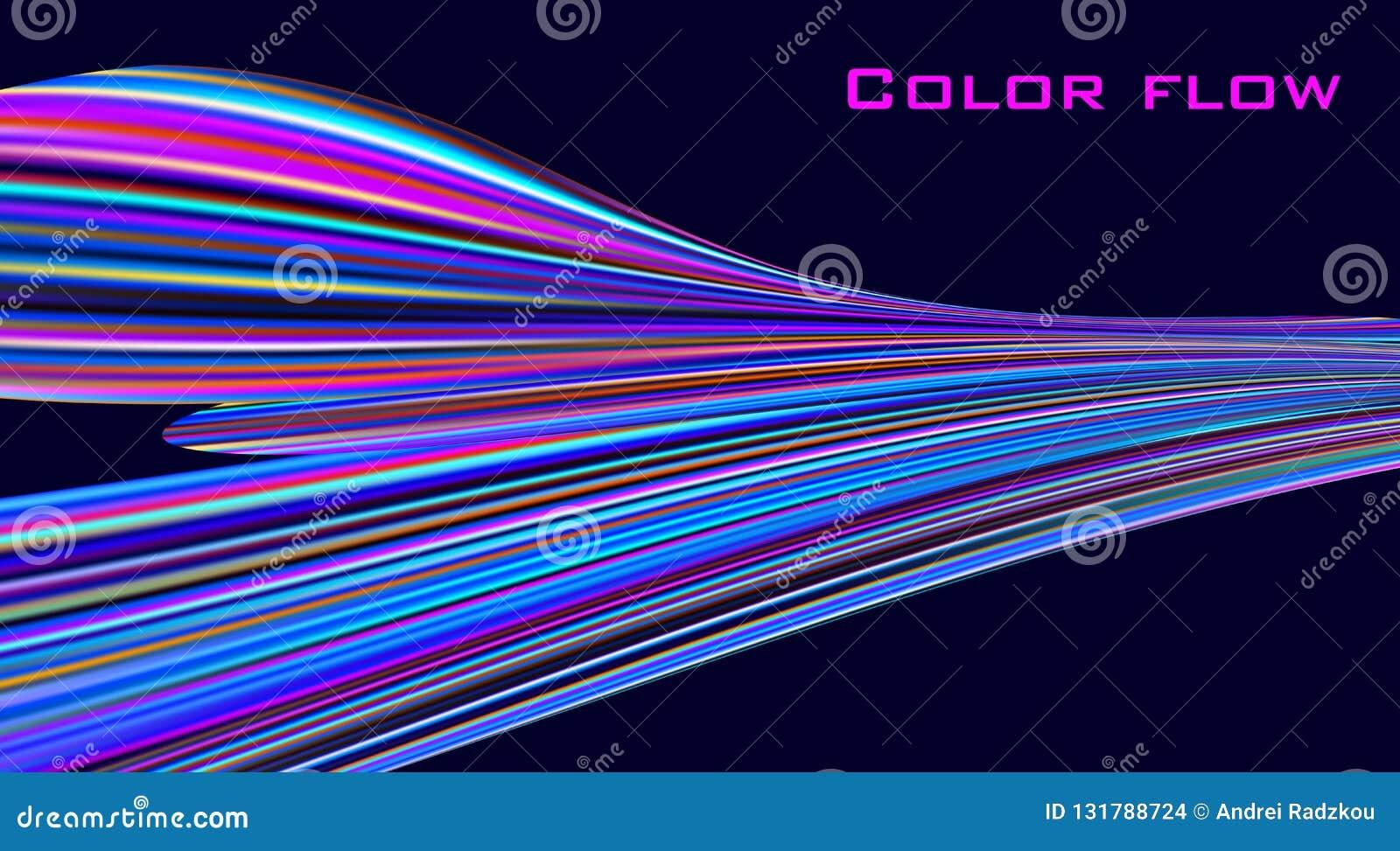 Flujo del color Onda colorida en fondo negro Gráficos de vector