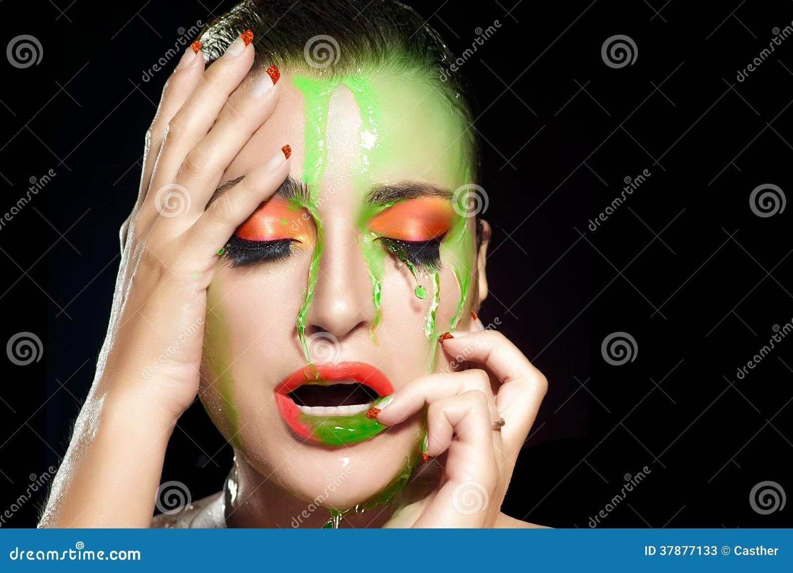 Fluor makeupexplosion. Skönhet och mode under flödande vatten