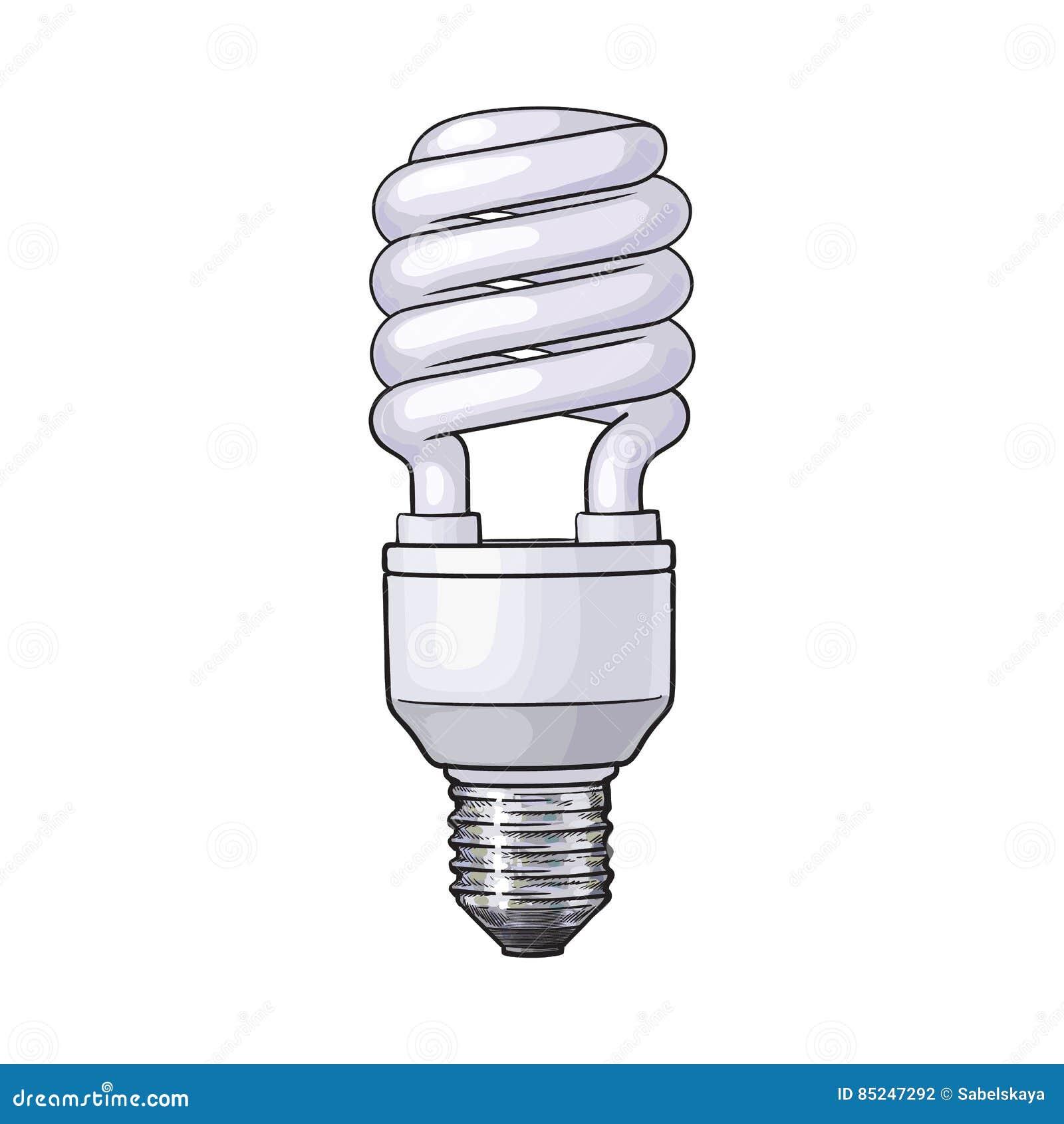 Fluorescencyjna, energooszczędna, ślimakowata żarówka na białym tle,