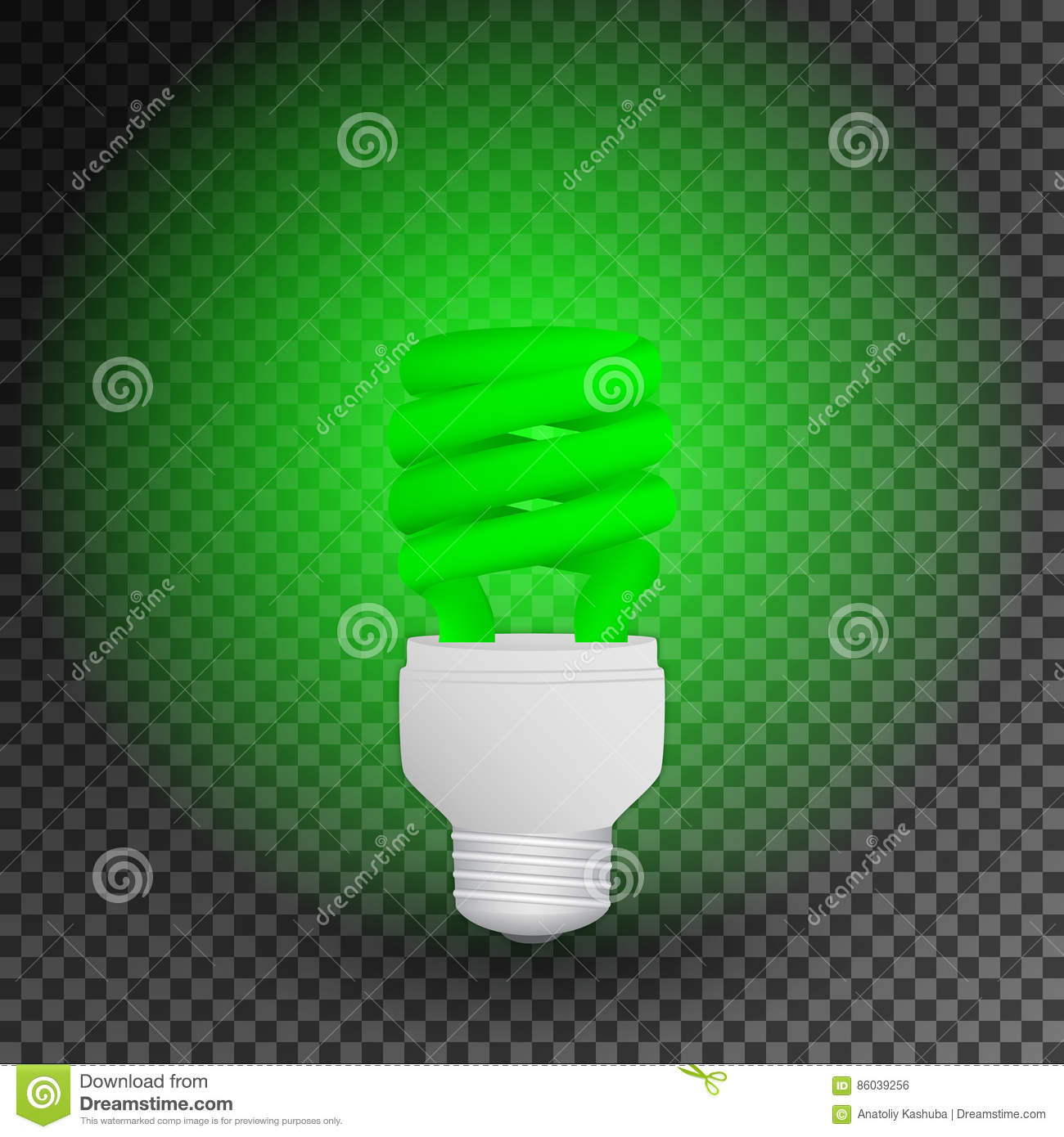 Royalty Free Vector  Download Fluorescent Green Economical Light Bulb  Glowing On A Transparent Background  Save Energy Lamp. Fluorescent Green Economical Light Bulb Glowing On A Transparent