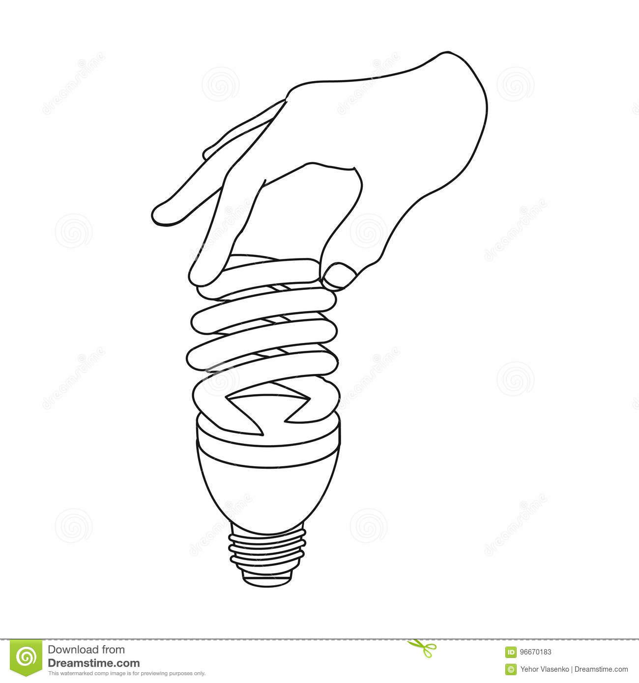 Fluorescent Saving Light Bulb In Hand Electric Lamp Single Icon In