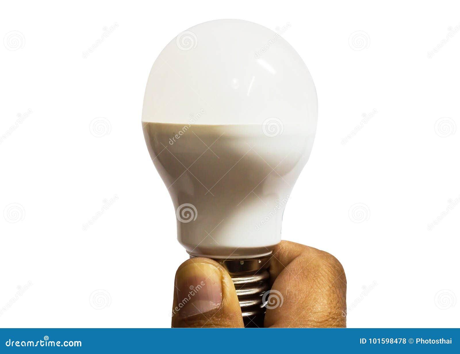 Fluorescent tube in man hand