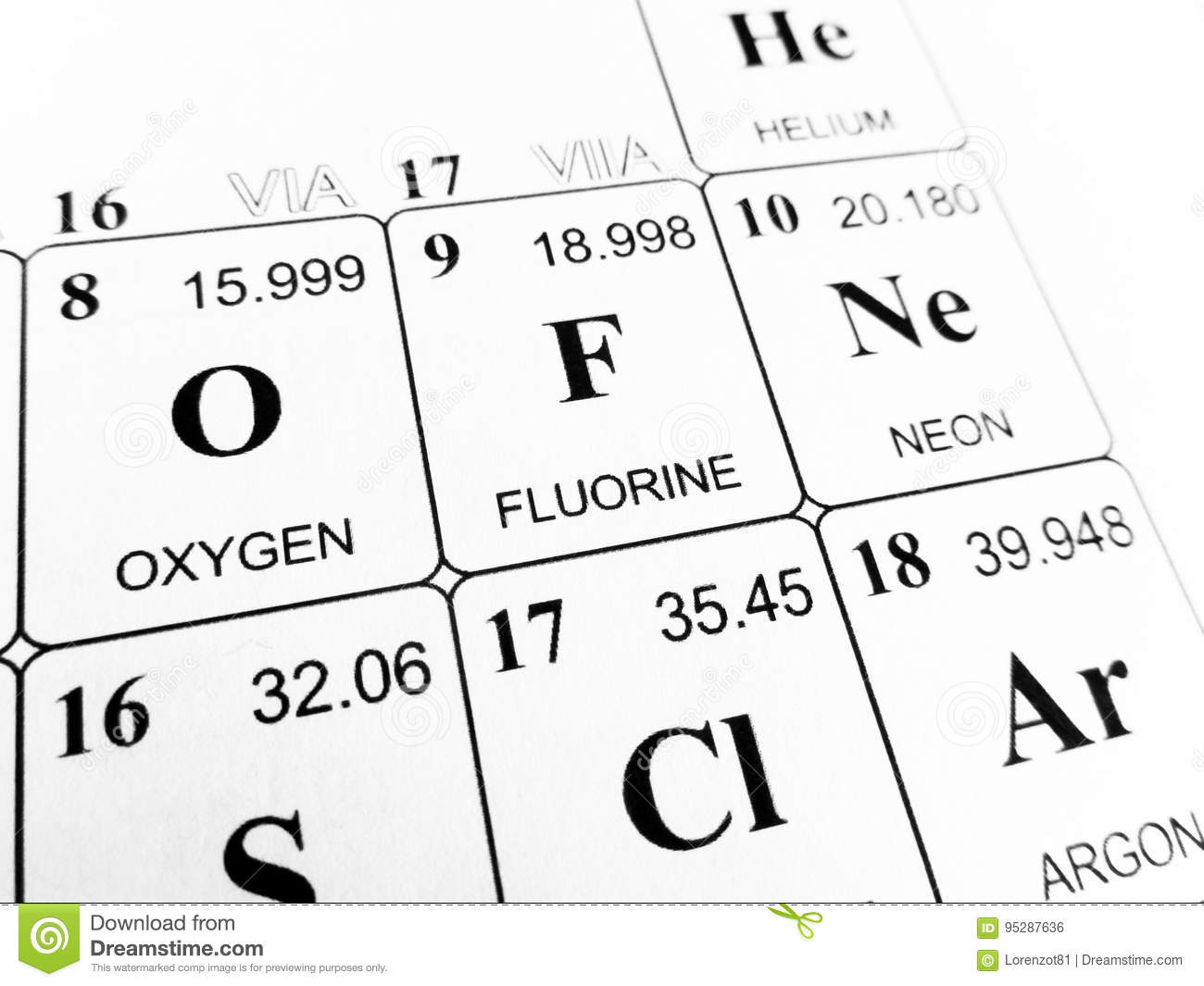 Fluorine on the periodic table of the elements stock photo image download comp urtaz Images