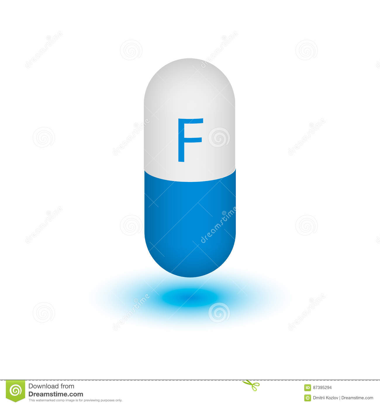 Fluorine Symbol On The Capsule Stock Vector Illustration Of Mass