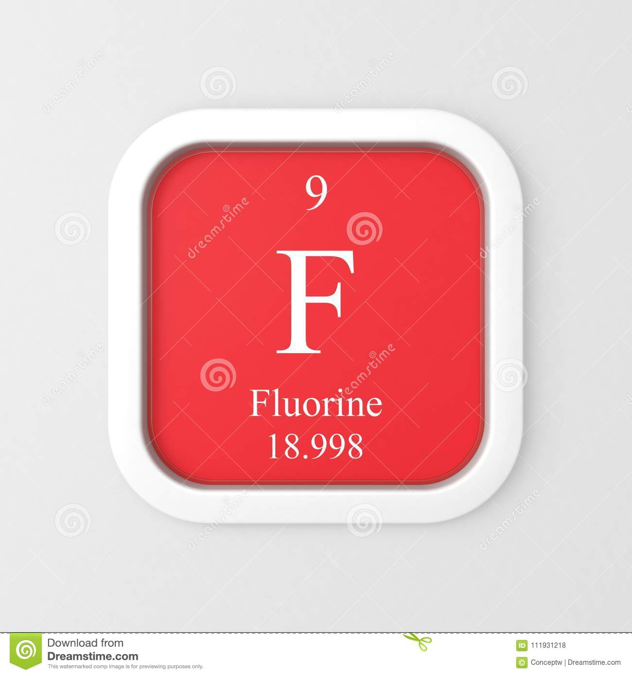 Fluorine Symbol On Red Rounded Square Stock Illustration