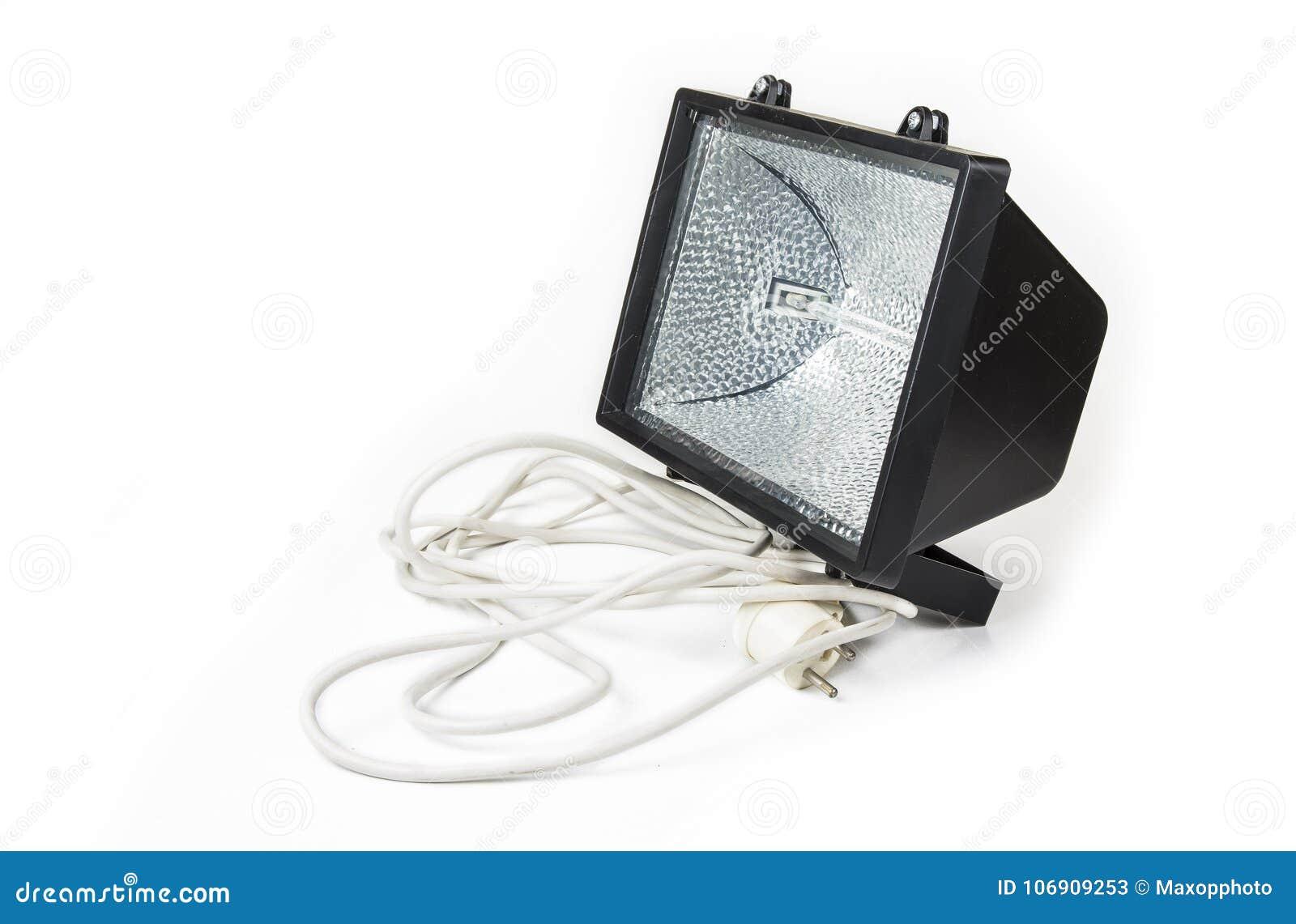 Fluorowa światło z elektrycznym kablem na białym tle