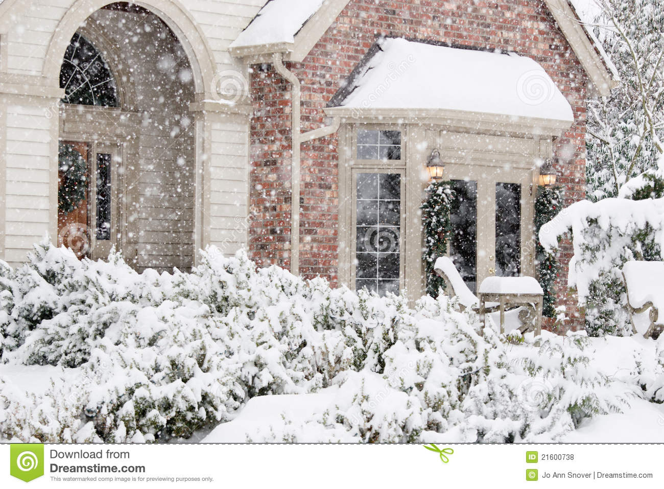 flurries of snow outside home stock photo image of horizontal