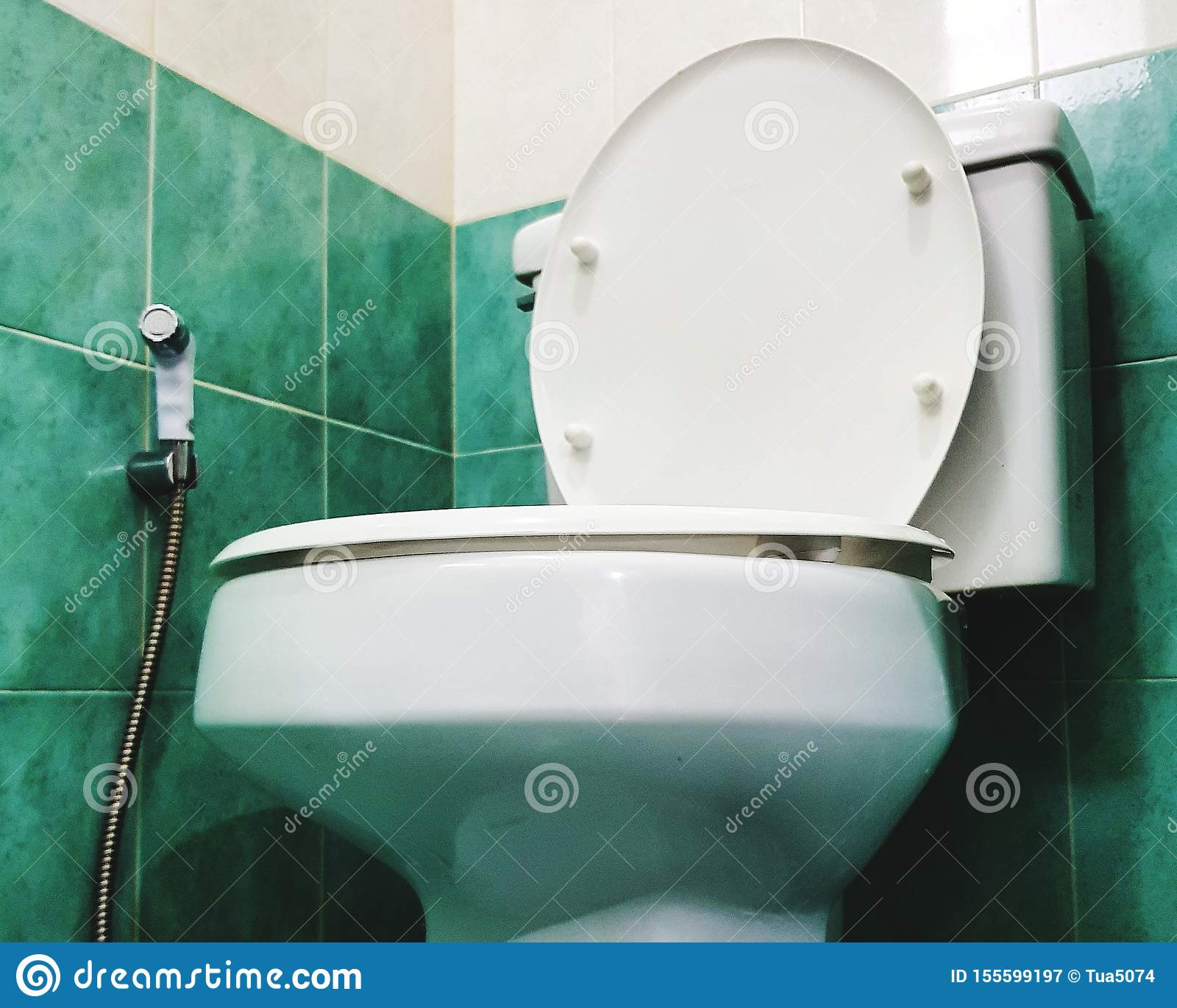 Flushing Toilet And Bidet Spray At Water Closet Stock Image