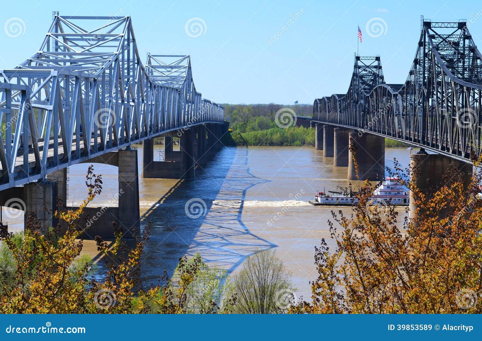 Fluss Mississipi-Brücken