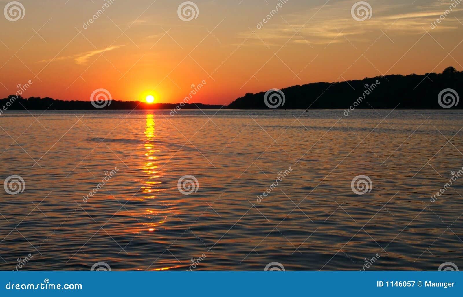 Fluss Mississipi-Sonnenuntergang