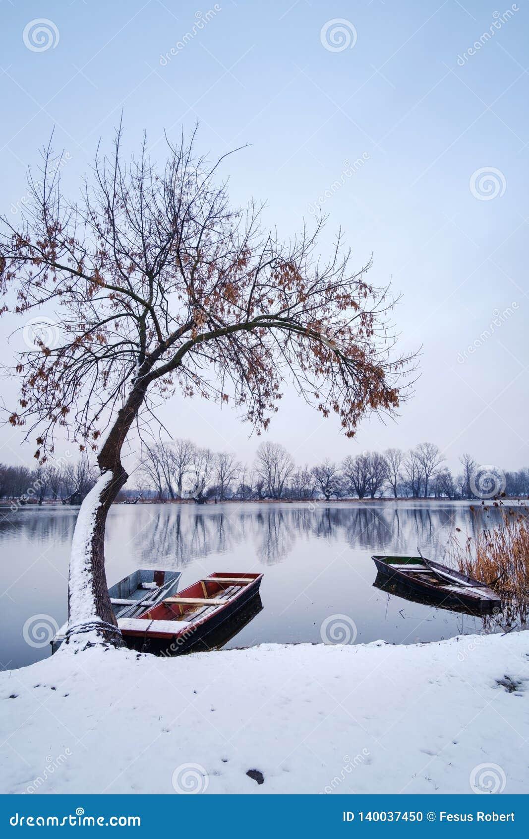 Flussboot auf Fluss-Schneelandschaft des Winters gefrorener