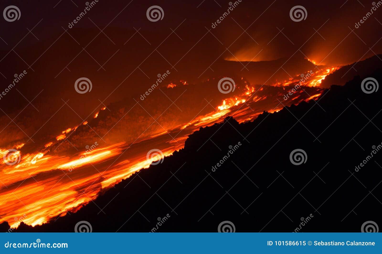 Flusso di lava veloce sullo scoppiare del vulcano di Etna