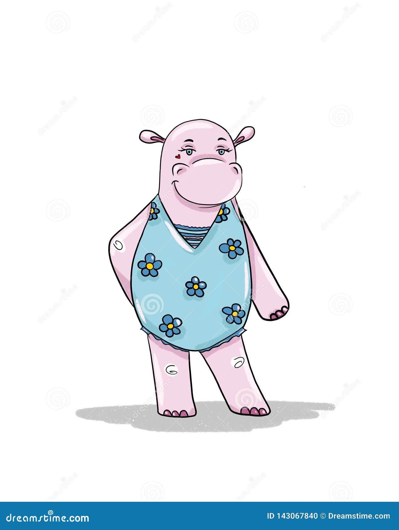 Flusspferdmädchen geht ein Sonnenbad zu nehmen