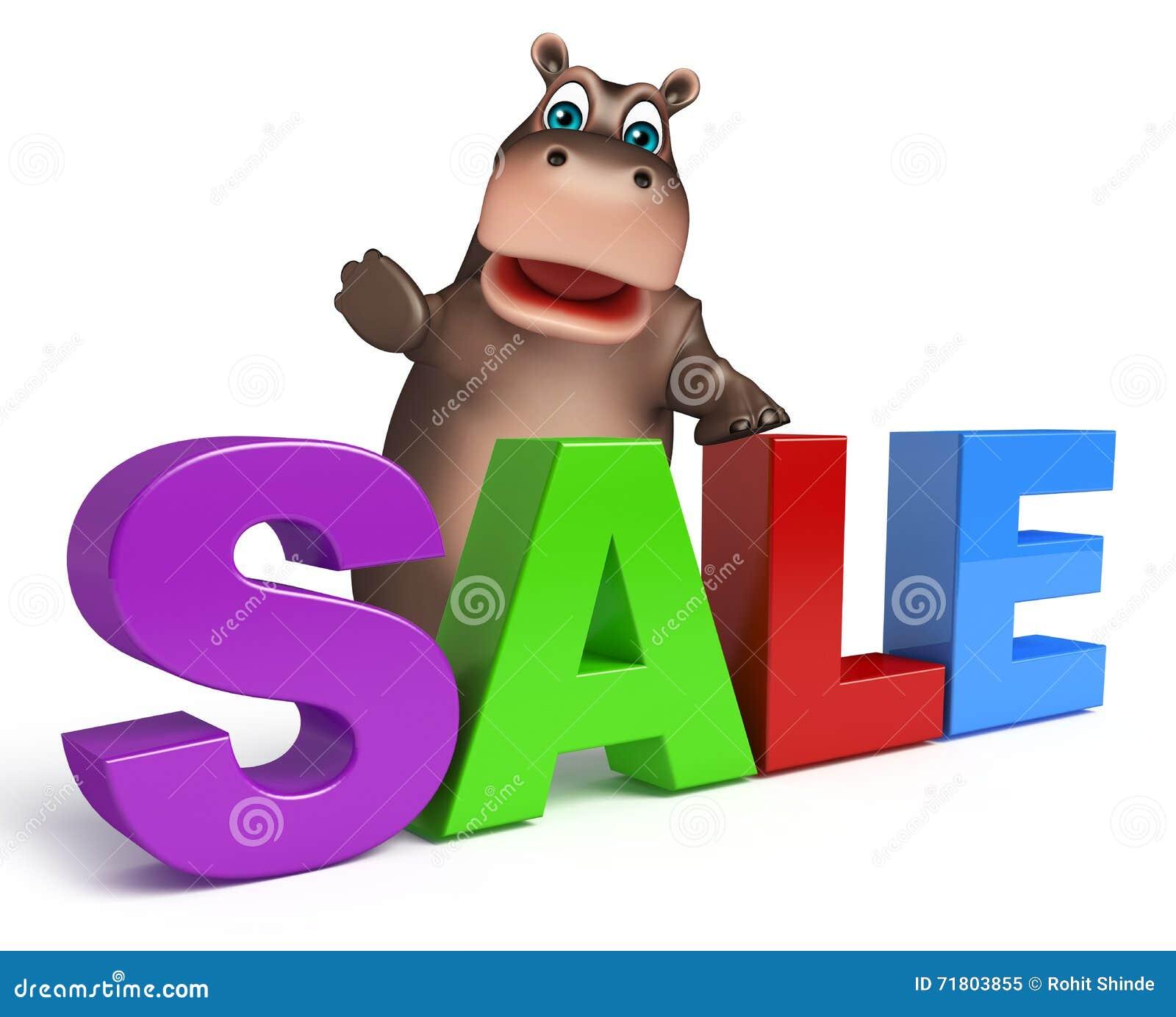 Flusspferdzeichentrickfilm-figur mit Verkaufszeichen