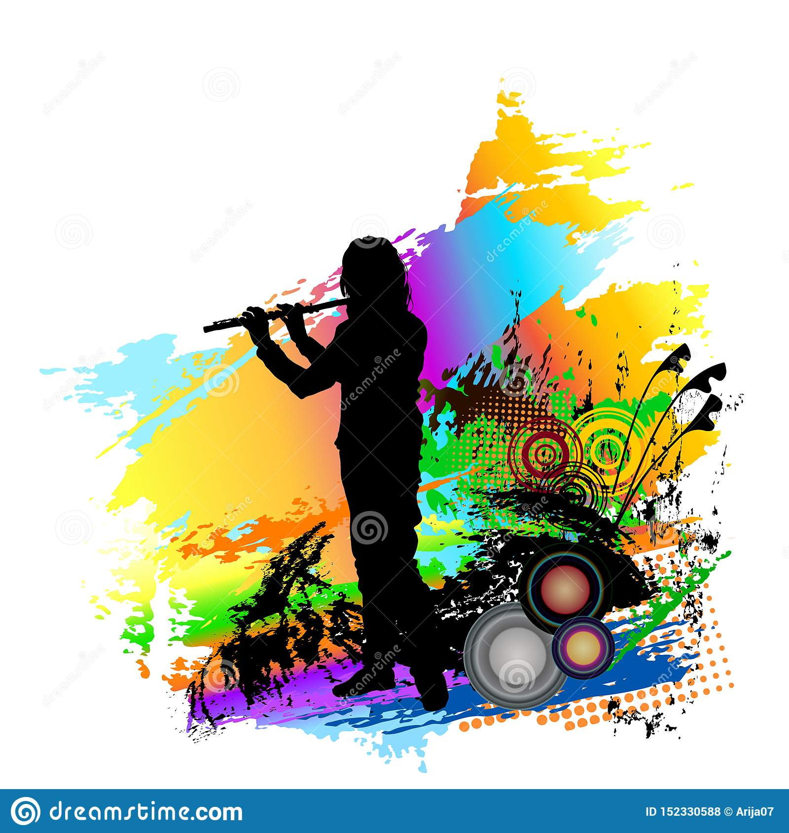 Flute Player Playing Folk Music. Stock Vector ...
