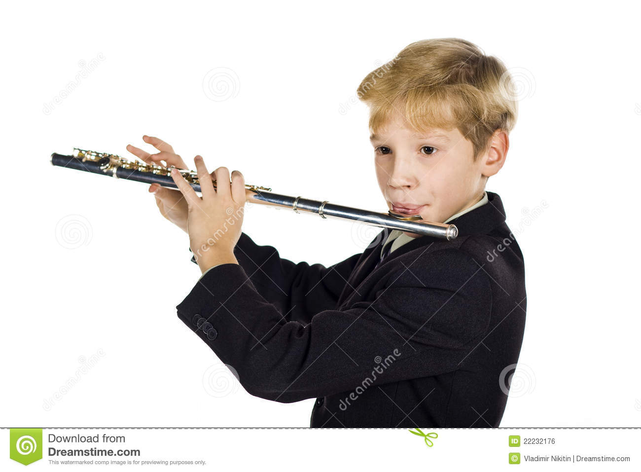 Flute sounds stock photo. Image of listen, little, youth ...