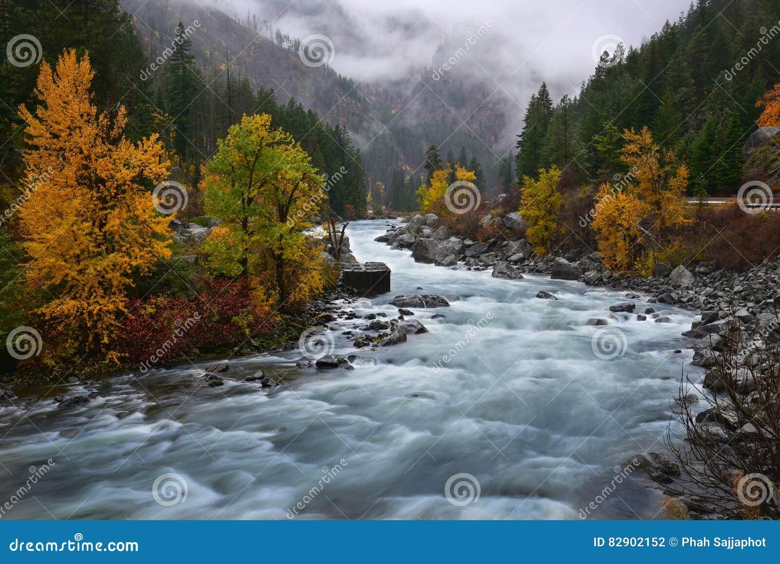 Fluxo do rio em Leavenworth, Washington