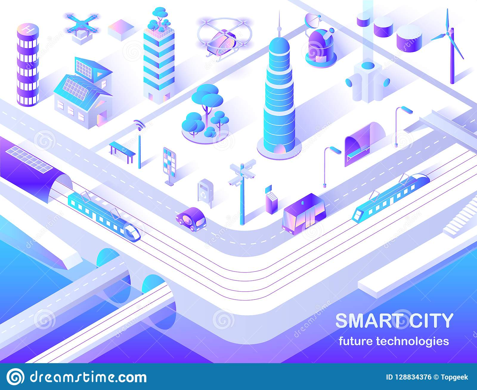 Fluxograma isométrico da tecnologia futura esperta da cidade