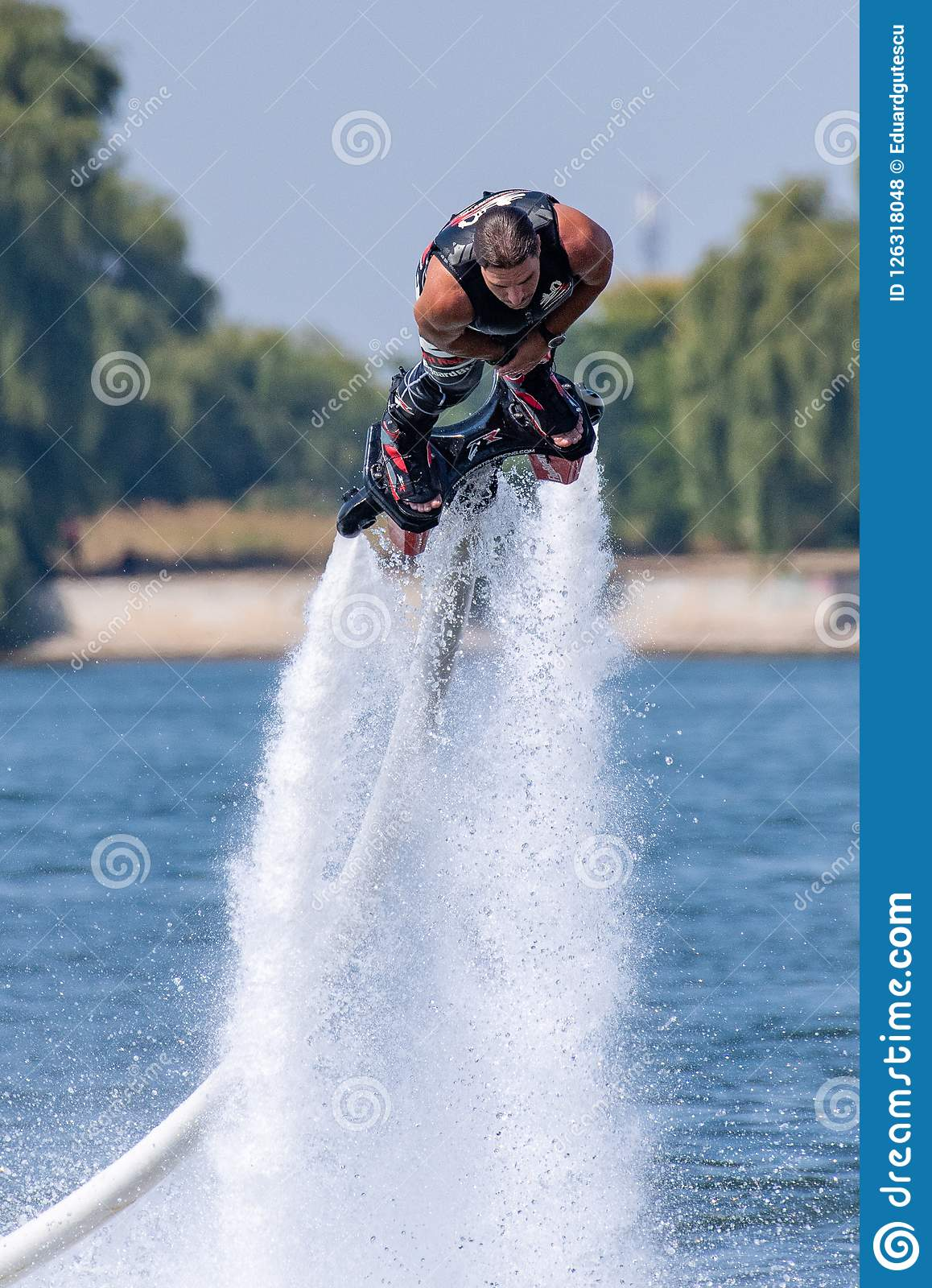 Fly board extreme sports adventure , summer beach sports