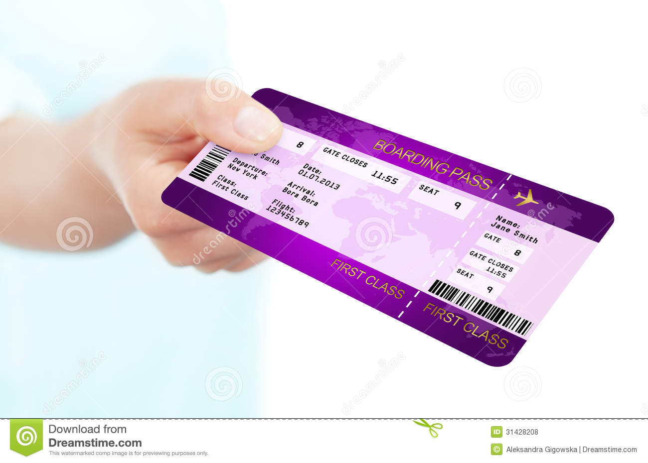 Fly boarding pass ticket holded by hand over white background royalty